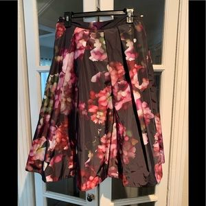 Pink Tartan floral midi skirt. Size 6